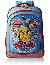 Pokemon Polyester 16 Inch Blue and Red Children's Backpack (MBE -  POK026)