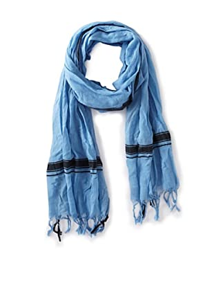 Leigh & Luca Women's Voile Logo Rectangle Scarf with Tassels, Ocean