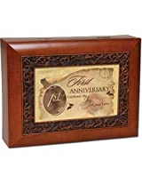Cottage Garden First 1st Wedding Anniversary Gift Musical Music Jewelry Box Plays Light Up My Life
