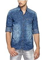 SPYKAR Men Denim Dk. BLue Casual Shirt (Large)