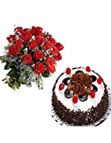 15 Red Roses with Black Forest Cake