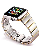 Apple Watch Band, Stainless Steel Classic Buckle Watch Strap Band Replacement Metal Clasp for Apple Watch Iwatch (OMIGA Gold 38mm)