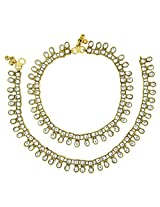 The Jewelbox Traditional Antique Gold Plated Kundan Square Anklet Pair For Women