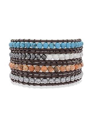 Lucie & Jade Echtleder-Armband rek. Türkis, Jaspis, Hämatit, Glaskristall schwarz/bunt