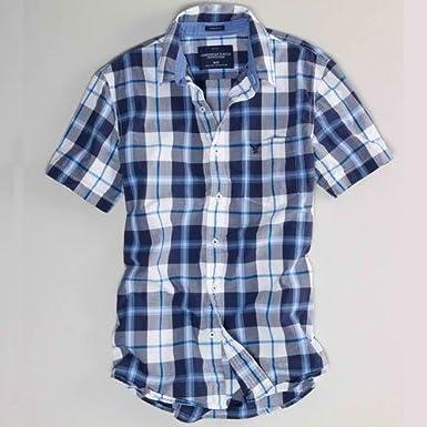 アメリカンイーグル AMERICAN EAGLE 正規品 メンズ半袖シャツ ホワイトネイビー