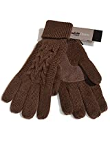 Isotoner Solid Triple Cable Palm Gloves (One Size, Chocolate)