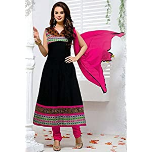 Evelyn Sharma Black and Pink Cotton Anarkali Suit