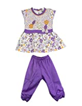 Ssmitn Baby Wear Spirit Of Nature Purple Frock And Bottom Set For Girls