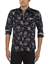 King Richard Men's Casual Shirt (AYK29_44, Black, 44)
