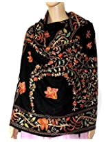 Indian Fashion Guru| Black| gift| woolen stole| stoles| Flower design| Embroidery stole| shawl