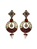 Unicorn's Ethnic Dangle Earring for Women with Antique Delicate Mesh and Kundan Stones (Red) - UEKMER6301R