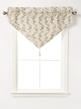 Waterford Linens Cassidy Ascot Valance, Ecru/Grey, 40