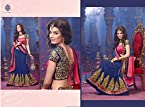 Bollywood Designer Party wear Pink and Navy Blue Colour Georgette lehenga Saree Sari Embroidery Patch Stone work Bridal Lehenga