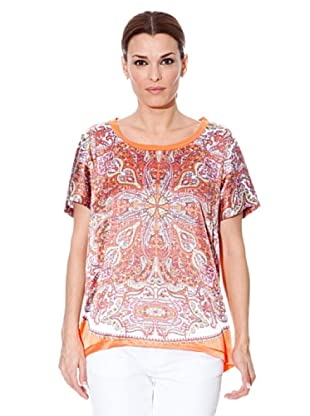 Cortefiel Top Tuch (Orange/Weiß)