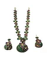 Sneh Pretty Green & Purple Coloured Necklace Set For Women