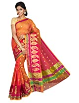 Korni Cotton Silk Banarasi Saree ISL-664- Orange/Pink KR0431