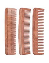 TULIR Neem Wood Comb, Combo of 3 (7 Inch)