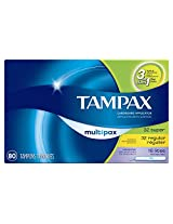 Tampax Tampons Multipax Variety Pack of 32 Super 32 Regular and 16 Lites 80-Count Boxes (Pack of 2)
