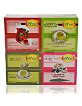 GTEE Hibiscus Tea Bags & Moringa Tea Bags & Tulsi Tea Bags & Green Tea Bags-Jasmine (10 Tea Bags X 4 PACKS)