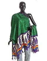 DollsofIndia Tribal Design on Green Bhagalpuri Silk Chunni with Paisley Design and Purple Border - Silk Tussar - Green