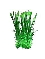 "Imported 15"" Plastic Aquarium Plants Ornament w/ Base for Fish Tank - Green"