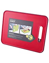 Joseph Joseph Slice and Sharpen Chopping board with Knife Sharpener, Large - Red