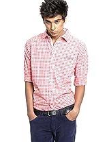 Checks Red Slim Fit Casual Shirt Probase