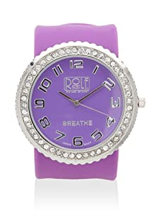 Rolf Bleu Rhinestone Silicone Slap Watch (Purple)