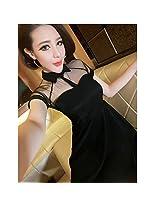 Evtech(Tm) Summer Womens Euramerican Style Dress Sweet Gauze Shirt Collar Bodycon Perspective Skirt Black M