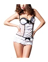 N-Gal Womens Synthetic Chemise ,White ,Free Size