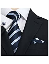 "Landisun 20N Stripes Mens Silk Necktie Set:Tie+Hanky+Cufflinks Navy Blue White, 3.75""Wx66""L"