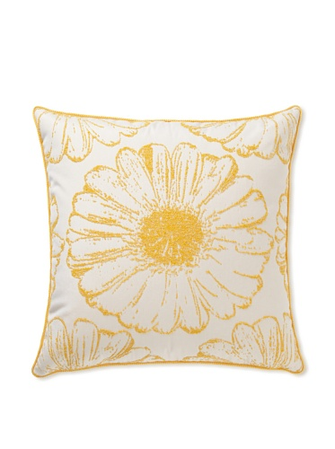 Elsa Blue Tuscan Sunflower with Cord Indoor/Outdoor Pillow, Papaya, 20