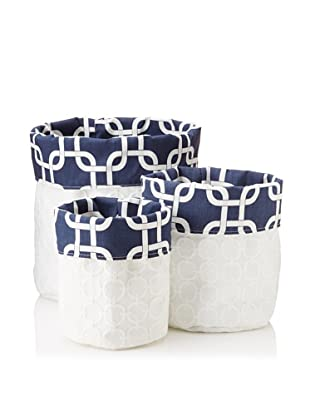 Chateau Blanc Set of 3 Natalie Fabric Storage Bags, White/Navy