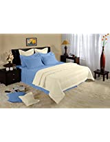 Birla Century Dobby Cotton Double Bedsheet with 2 Pillow Covers - Blue