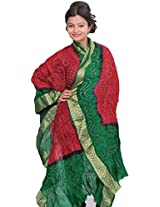 Exotic India Tie-Dye Bandhani Dupatta From Gujarat - Color Maroon And GreenColor Free Size