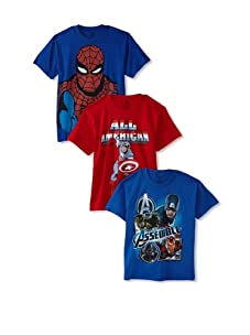 Freeze Boy's 8-20 Captain America/Avengers/Spiderman T-Shirt Bundle (Red/Royal)