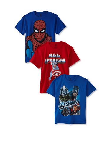 Freeze Boy's 8-20 Captain America/Avengers/Spider-Man T-Shirt Bundle (Red/Royal)