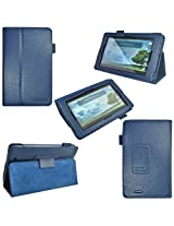 i-design Asus MeMO Pad 7 inch Tablet Premium Leather Case with Flip Stand Stylus Loop and Wake/Sleep Function (Asus MeMO Pad 7 Blue)