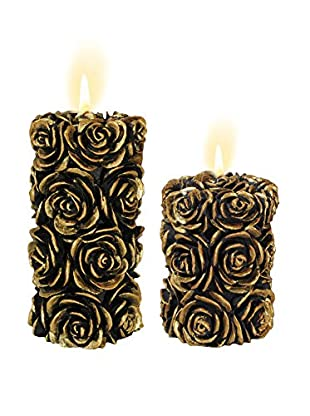 Volcanica Set of 2 Burgundy & Gold Flora Pillar Candles