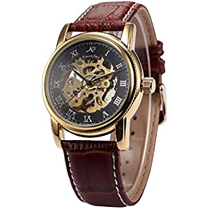KS Gold Skeleton Automatic Mechanical Mens Leather Wrist Watch KS032