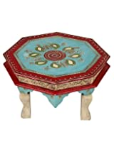 Trendy Red Wood Stool Paisley Hand Painted By Rajrang