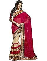 Raj Laxmi Women's Chiffon Saree(SF5001, Red)