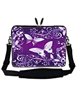 "Meffort Inc 15 15.6 Inch Purple Butterfly Design Laptop Sleeve Bag Carrying Case With Hidden Handle & Adjustable Shoulder Strap For 14"" 15"" 15.6"" Apple Macbook, Acer, Asus, Dell, Hp, Sony, Toshiba, And More"