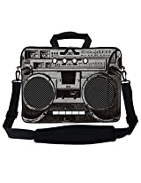Meffort Inc 17 17.3 inch Neoprene Laptop Bag Sleeve with Extra Side Pocket Soft Carrying Handle & Removable Shoulder Strap for 16 to 17.3 Size Notebook Computer - Cassette Player Design