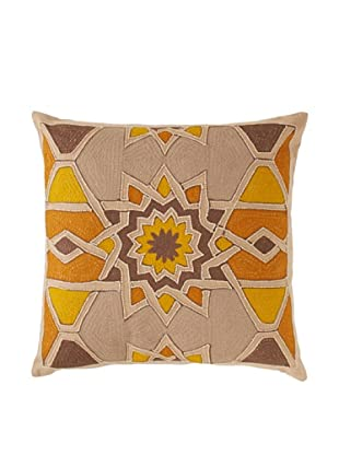 Agadir Embroidered Throw Pillow, Natural/Yellow, 16