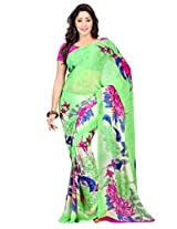 Admyrin Pele Green Printed Saree with Hot Pink Georgette Blouse Piece