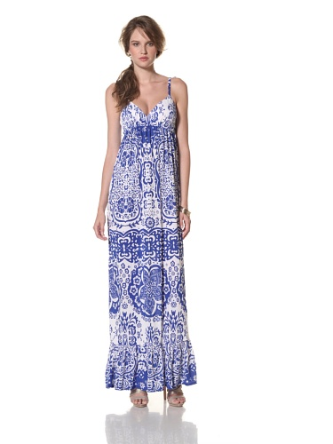 COLLETTE BY COLLETTE DINNIGAN Women's Shoestring Long Ruffle Dress (Sea Blue)