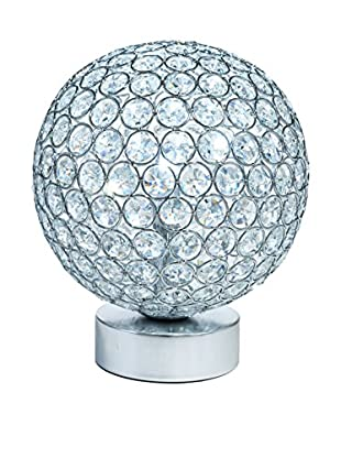Illuminated Décor 1-Light Battery Operated LED Table Lamp With Crystals, Silver