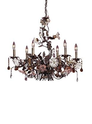 Artistic Lighting 6-Light Hand Blown Florets Chandelier, Deep Rust