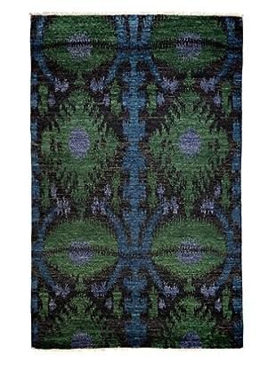 Darya Rugs Ikat Oriental Rug, Black, 5' 1